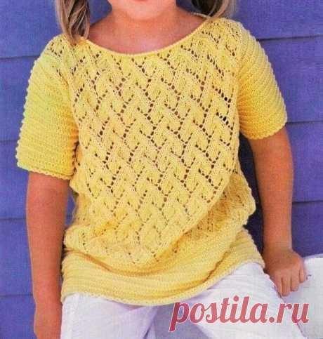 Летняя ажурная кофточка для девочки, связанная спицами | Идеи рукоделия | Яндекс Дзен