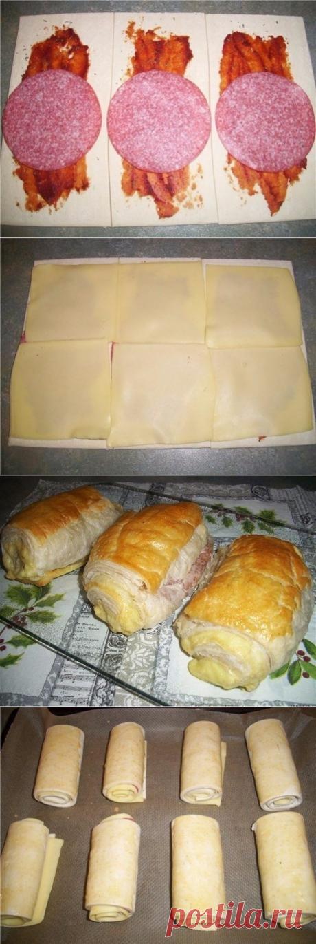 Как приготовить пицца-рулетики из слоеного теста. - рецепт, ингредиенты и фотографии