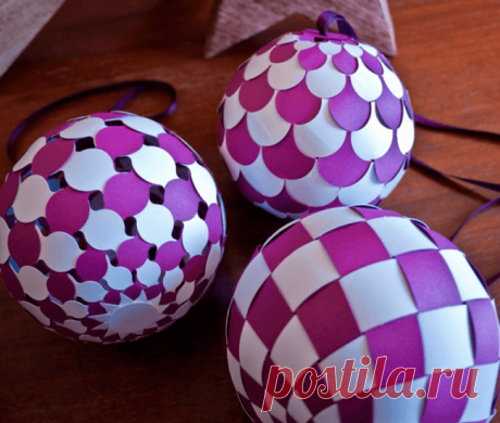 Новогодние шары из цветной бумаги