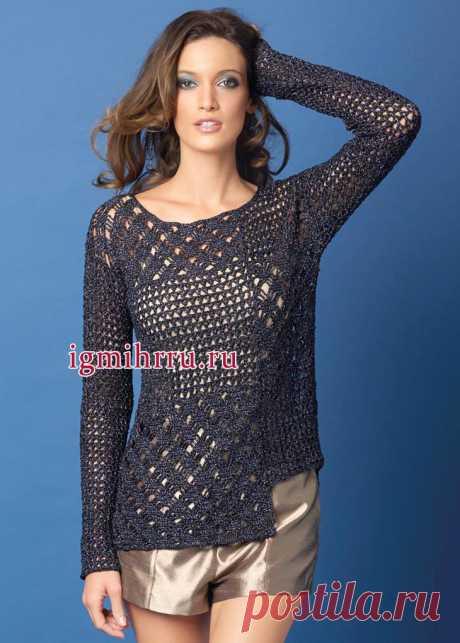 Скромно и изысканно! Сине-черный кружевной пуловер с асимметричной линией низа. Вязание крючком