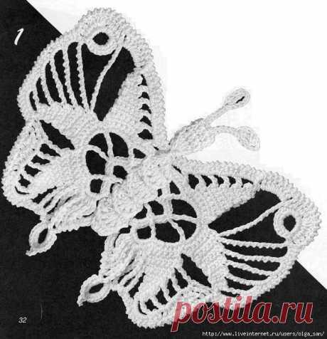 Вяжем чудесную бабочку! (схема вязания)