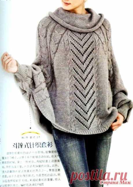 Красивое пончо-пуловер - ВЯЗАНАЯ МОДА+ ДЛЯ НЕМОДЕЛЬНЫХ ДАМ - Страна Мам