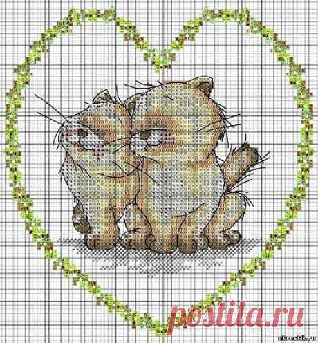 Схема для вышивки крестом: Пушистая парочка - Животные - Каталог статей - Бесплатные схемы для вышивки крестом