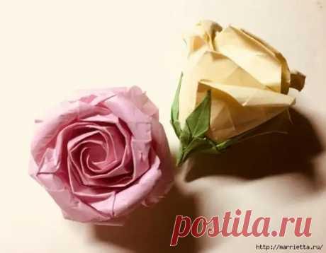 Роза в технике оригами из бумаги - Самоделкино - медиаплатформа МирТесен