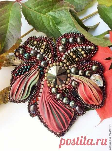 (14) Handwork brooches. A fair of Masters - handwork. To buy Wild grapes. Handmade. Multi-colored, Japanese beads | Bead Embroidered Brooches