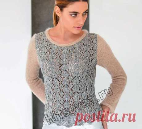 Двухцветный ажурный пуловер - Хитсовет Вязание бесплатно для женщин модного двухцветного ажурного пуловера со схемой и пошаговым описанием.