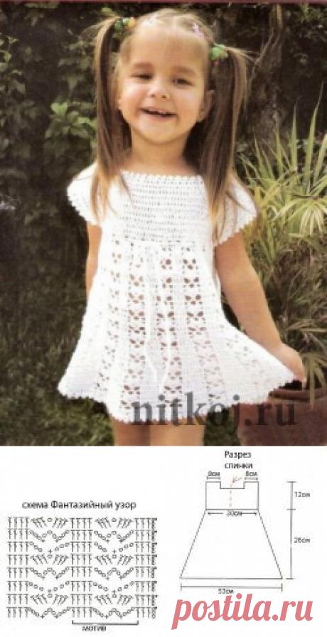 Нежное летнее платье крючком » Ниткой - вязаные вещи для вашего дома, вязание крючком, вязание спицами, схемы вязания