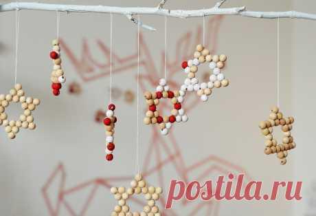 Рождественские звёзды из бусин своими руками Мастер-класс с фото по изготовлению своими руками рождественских звёзд из деревянных бусин