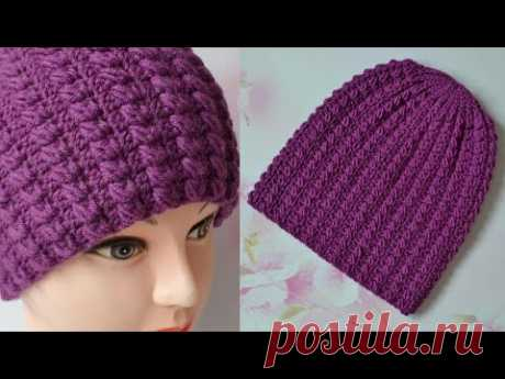 Шапка крючком. Новый узор. Мастер класс.  Hat crochet pattern