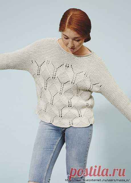 Пуловер с цельновязанными рукавами Rhombille ромбовым узором из журнала Pompom весна 2016.
