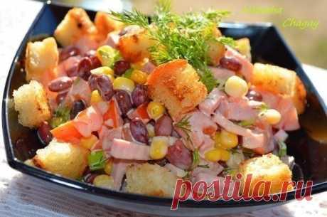 Как приготовить салат с фасолью и сухариками  - рецепт, ингридиенты и фотографии
