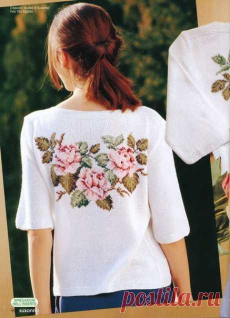 Вышивальное - идеи и схемы для украшения одежды цветочной вышивкой