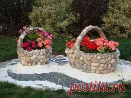 Супер идеи украшений сада и дома обычными природными камнями  Каменные клумбы