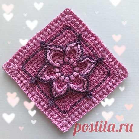 Цветочный квадрат крючком от Elisabeth Laitila. Схема вязания