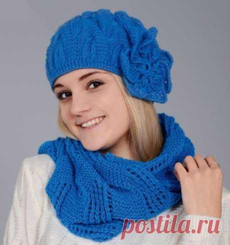Шапочка и шарф спицами.