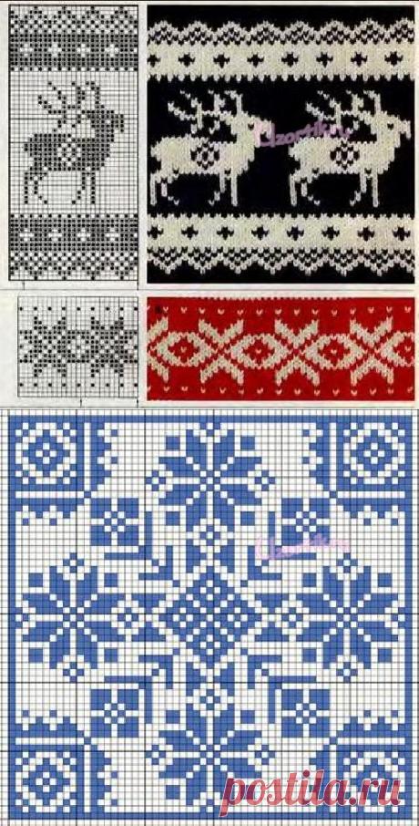 Норвежские узоры спицами. Схемы вязания