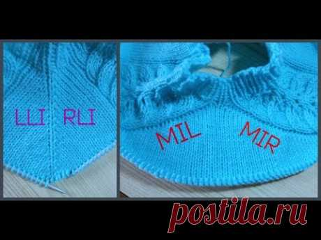 LLI, RLI,MIL, MIR increases for a raglan with an inclination to the right and to the left