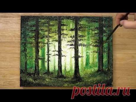 Как нарисовать лес / Техника акриловой живописи # 431