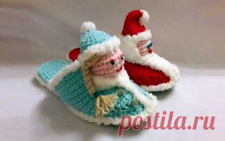 """Knitted New Year's """"Дед slippers Frost and Снегурочка"""""""