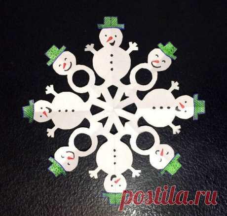 Необычные снежинки из бумаги ⛄ Для начала возьмите лист белой бумаги квадратной формы и сложите его по схеме. Нарисуйте карандашом контур и вырежьте. Аккуратно расправьте снежинку и теперь дорисуйте глаза, рот, нос-морковку каждому снеговику, раскрасьте и украсьте их. Можно использовать цветные карандаши, краски, фломастеры, блестки, пайетки, сделать пуговки из бисера и многое другое.