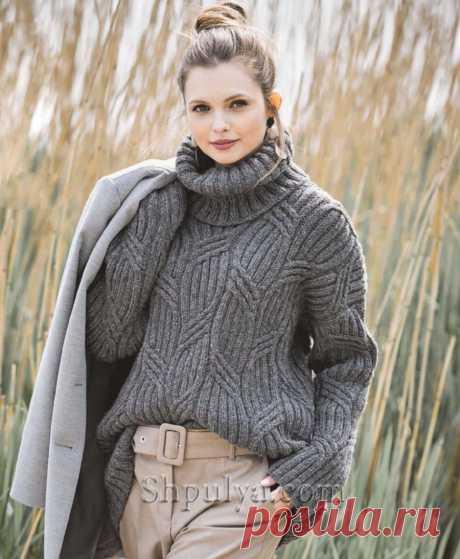 Темно-серый пуловер с воротником гольф и узором «Косы» — Shpulya.com - схемы с описанием для вязания спицами и крючком