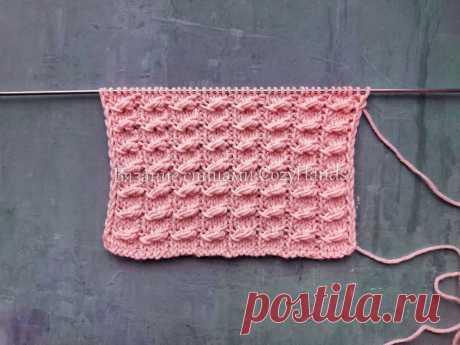 Объемный узор спицами для вязания свитеров, кардиганов, жилеток | Вязание спицами CozyHands | Яндекс Дзен