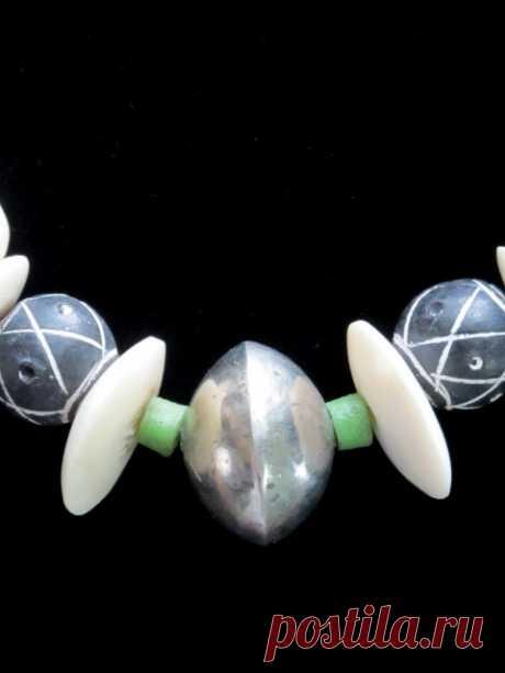 Старые Африканские Торговые Бусы Ювелирные Изделия - Ожерелье Ручной Работы