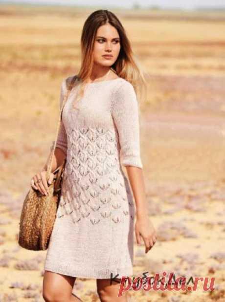 Розовое платье спицами Сквозной узор из «кос» акцентирует талию, переходя на уровне груди в простую резинку, - необычайно эффектное платье!Размеры: 36/38 (40/42) 44/46Вам потребуется: пряжа (50% хлопка, 50% полиэстера (переработанный морской пластик); 125 м/50 г) - 350 (400) 450 г бледно-розовой; спицы № 4.Узор 1: