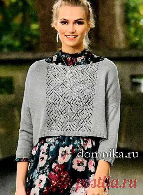 Короткий пуловер спицами - стильная модель на весну 2019 года