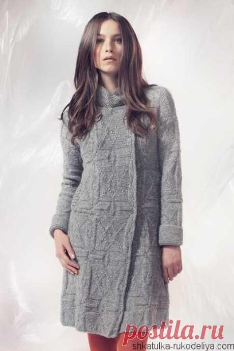Пальто теневым узором Пальто теневым узором спицами. Короткое пальто спицами схемы и описание