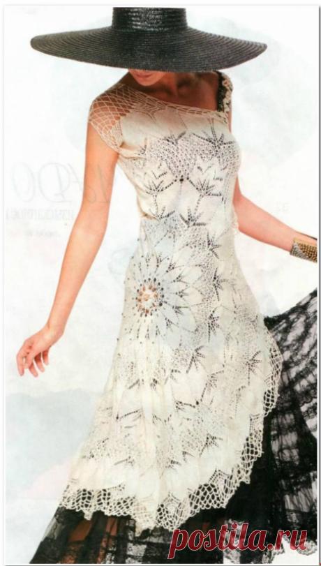 Платье, украшенное салфеткой из категории Совместник, салфетки – Вязаные идеи, идеи для вязания
