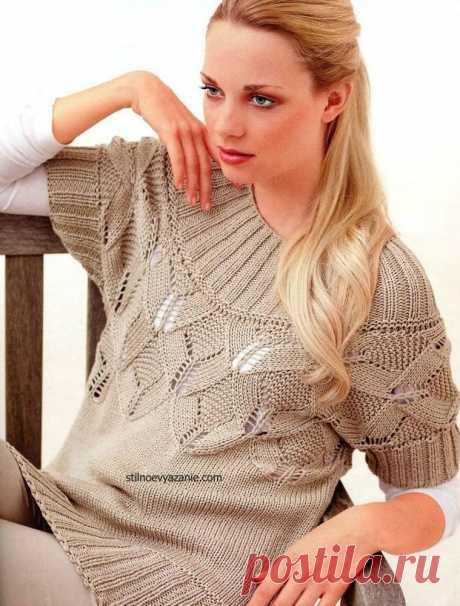 Пуловер с ажурным узором | Вязание крючком и спицами