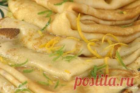 Крепы с кремом «Лимончелло». Ингредиенты: мука, яйца куриные, сливочное масло