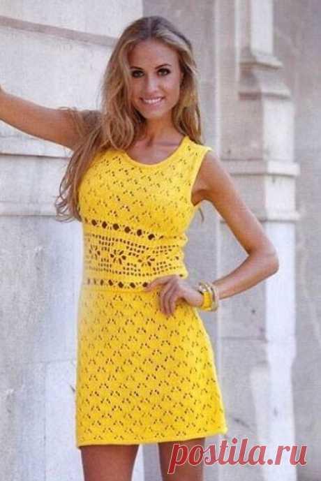 Летнее желтое платье крючком и спицами ~ Свое рукоделие