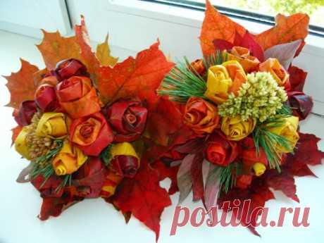 Розы из кленовых листьев — поделки своими руками . Милая Я