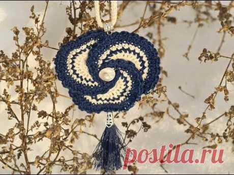 Брошь или подвес крючком   Crochet Necklace