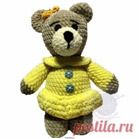 Плюшевая медведица в желтом прямом платье с бантиком на головеПлюшевый мир Мастерская игрушек Анны Ганоцкой
