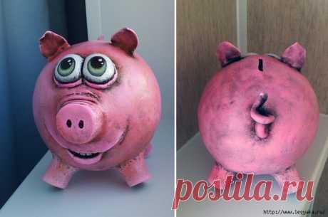Папье-маше: новогодняя свинка-копилка своими руками!