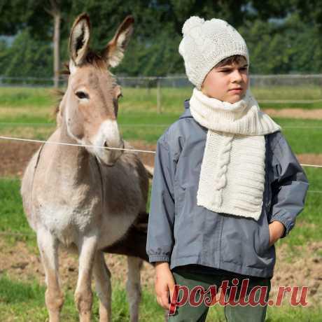 Детская шапка и шарф с «косой» - схема вязания спицами с описанием на Verena.ru