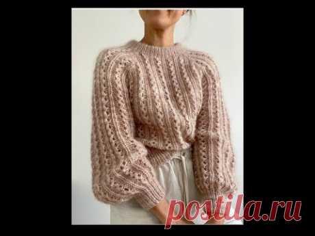 Модный женский свитер спицами. Видео МК