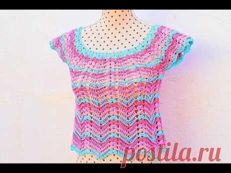 Blusa de colores para mujer  # muy fácil y rápida. MAJOVEL CROCHET