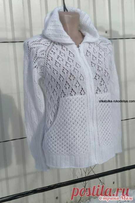 Белый кардиган с капюшоном спицами. Вяжем кардиган на лето спицами с описанием   Шкатулка рукоделия. Сайт для рукодельниц.