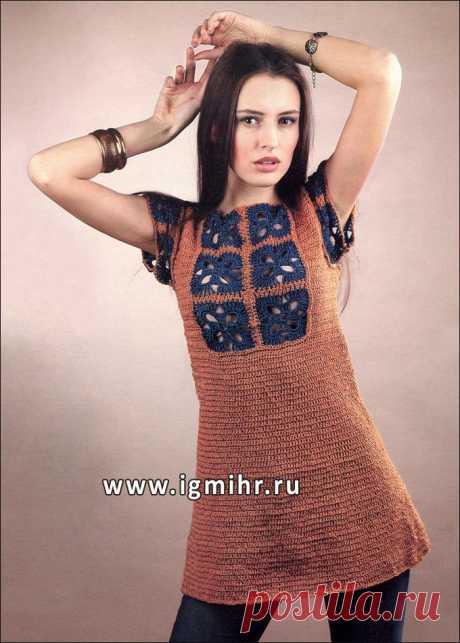Платье-туника светло-коричневого цвета с вставками из ажурных мотивов. Крючок.