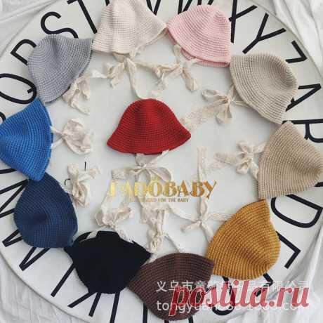 毛线帽子_儿童针织毛线韩国男女宝宝保暖蕾丝系带盆帽 - 阿里巴巴