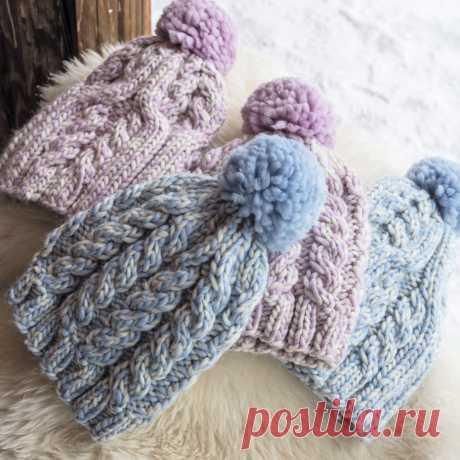 Меланжевая шапка с «косами» - схема вязания спицами. Вяжем Шапки на Verena.ru