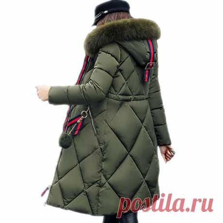 4f1d092dceb Большой меховой зимняя куртка утепленная парка женщин шить тонкий длинное  зимнее пальто вниз хлопок дамы вниз