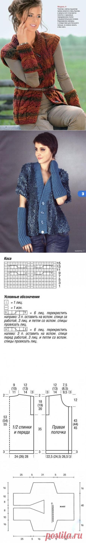 Стильный жилет и митенки — Рукоделие