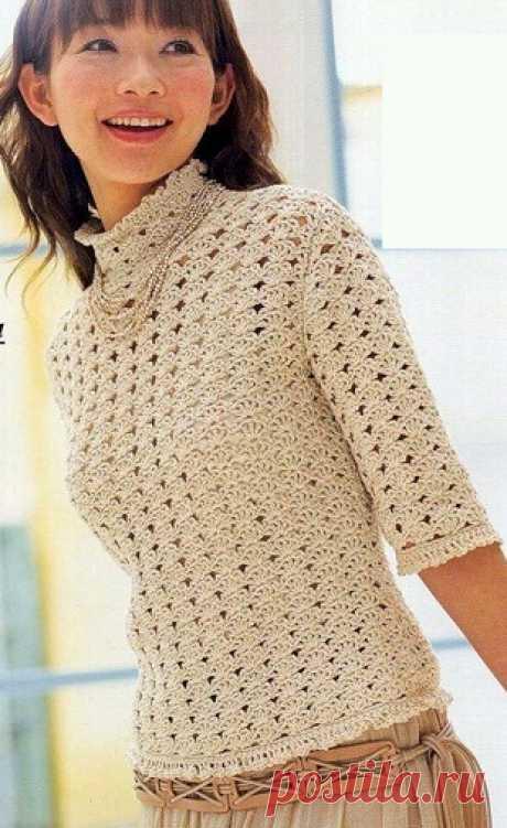 Вязание крючком - нарядный пуловер