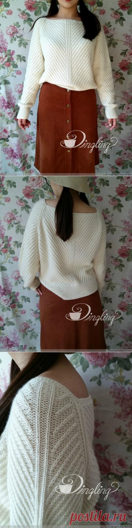 Вязанный пуловер реглан с диагональной резинкой