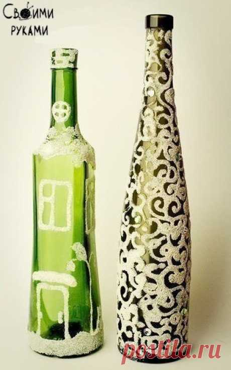 Декор бутылки манкой